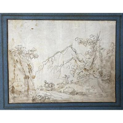 """Robert Hubert (1733-1808) Attributed To """"animated Landscape"""" Drawing/pen And Brown Wash"""