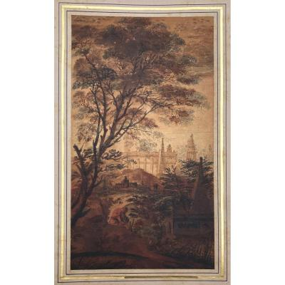 """Leguay Charles Etienne (1762-1846) Attr To""""animated Landscape & Architecture"""" Drawing/pen &wash"""