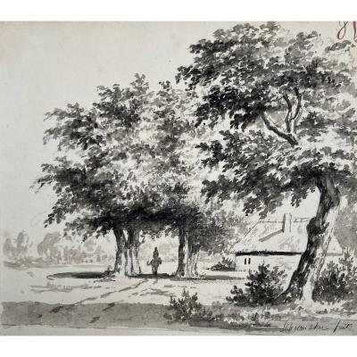 """Schoenmaker Johannes Pietersz (1755-1842) """"landscape And Rider"""" Drawing/gray Wash, Signed"""
