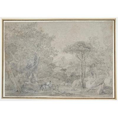 """Mongin Antoine Pierre (1761-1827) """"landscape And Characters"""" Drawing/black Chalk & White Chalk"""