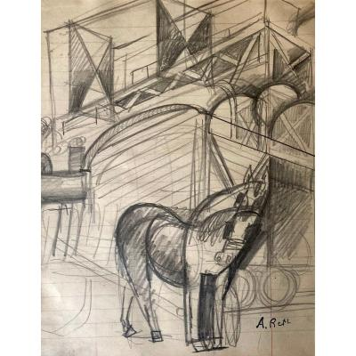 """Reth Alfred (1884-1966) """"the Horse"""" Drawing In Black Pencil, Signed With The Stamp Signature"""