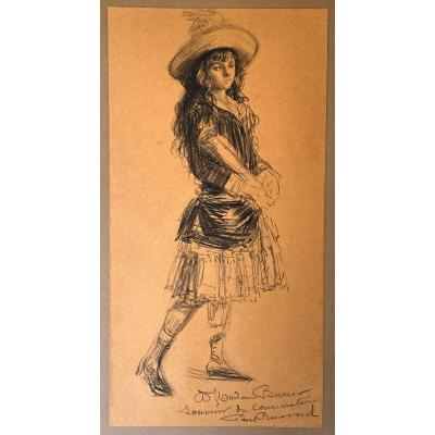 """Renouard Paul (1845-1924) """"young Girl"""" Drawing In Black Pencil, Signed"""