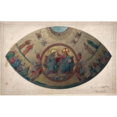 "Douillard Alexis (1835-1905) ""christ And The Saints"" Watercolor, Signed And Dated"