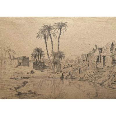 "IMER Edouard (1820-1881) ""Sinnhour Fayoum, Egypte"" Dessin/Crayon noir, signé"