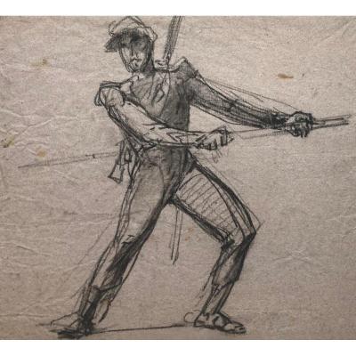 """VERNET Horace (1789-1863) """"Militaire"""" Dessin au crayon noir, Ancienne Collection Jean de VICHET"""