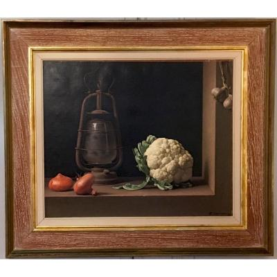 """Chancrin René (1911-1981) """"still Life With Cauliflower"""" Oil/canvas, Signed, Dated, Frame 20th"""
