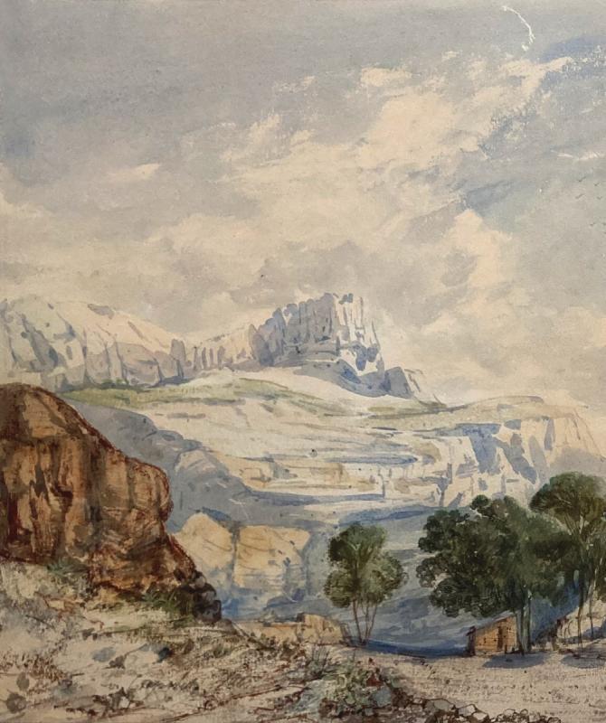 """CRAPELET Louis Amable (1822-1867) """"Paysage à la calèche"""" Aquarelle, signé-photo-2"""