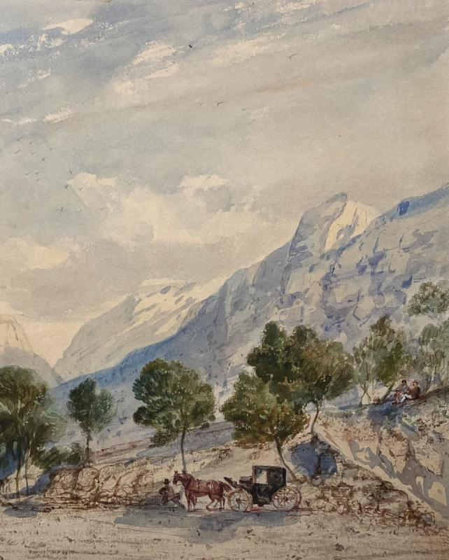 """CRAPELET Louis Amable (1822-1867) """"Paysage à la calèche"""" Aquarelle, signé-photo-3"""