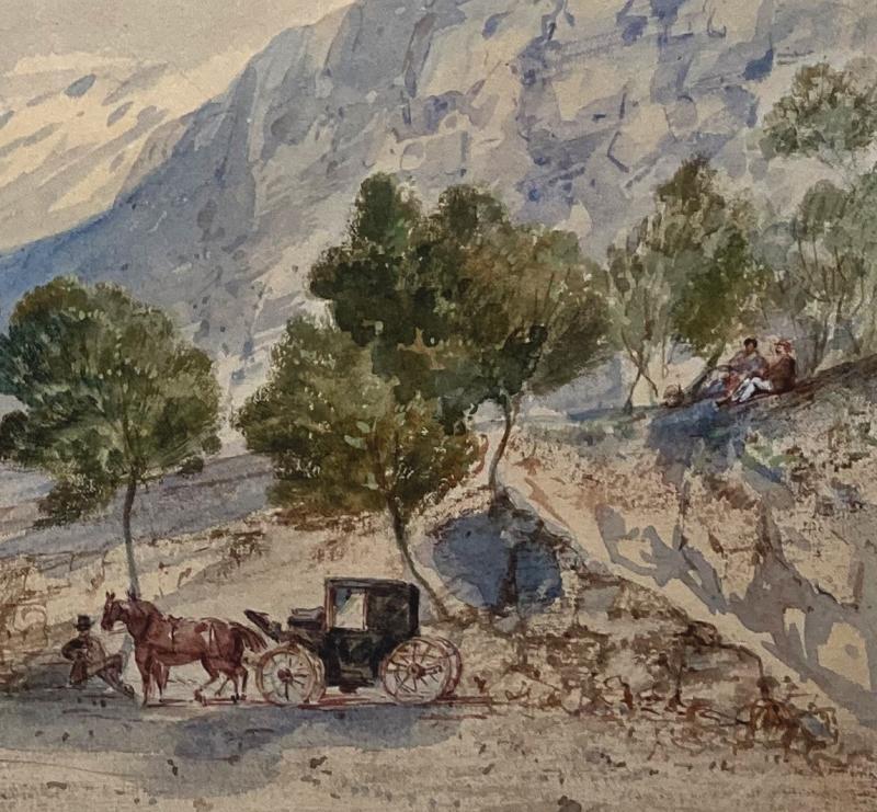 """CRAPELET Louis Amable (1822-1867) """"Paysage à la calèche"""" Aquarelle, signé-photo-4"""