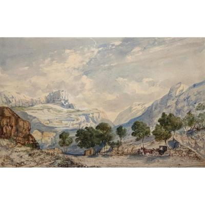 "Crapelet Louis Amable (1822-1867) ""landscape With The Carriage"" Watercolor, Signed"