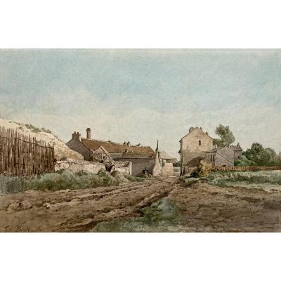 "Le Roux Louis Eugène (1833-1905) ""landscape At The Farm"" Watercolor, Signed"