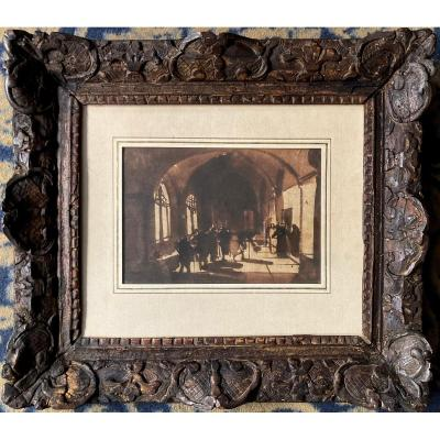 """Granet François Marius (1775-1849) """"interior Of A Convent""""drawing/brown Wash,18th Century Frame"""