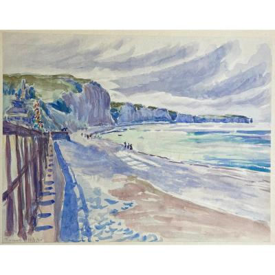 """French School 1920 """"the Beach At Fécamp"""" Watercolor, Located And Dated"""