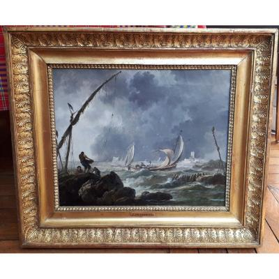 """Pillement Jean (1728-1808) """"boats And Fishermen"""" Oil On Canvas, Frame Circa 1800"""