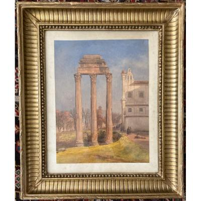 """Girard Pierre (1806-1872) """"three Columns Of The Temple Of Castor & Pollux"""" Watercolor, Annotated On The Back"""
