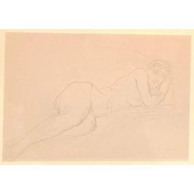 "DESPIAU Charles (1874-1946) ""Nu féminin"" Dessin au crayon noir, signé"