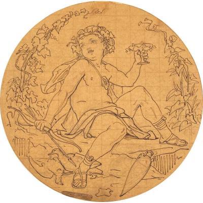 """BARRIAS Félix (1822-1907) """"Angelots"""" Dessin/Plume, crayon noir,mise au carreau,Cachet signature"""