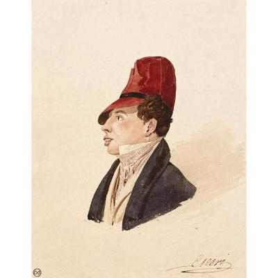 """Ciceri Charles (1782-1868) """"head Of A Dandy"""" Watercolor, Signed, Collection Stamp"""