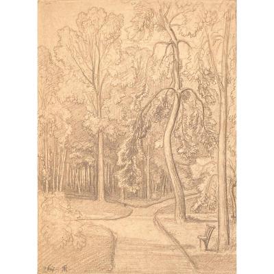 "CARUELLE D'ALIGNY Théodore (1798-1871) ""Paysage"" Dessin/Crayon noir, monogrammé"