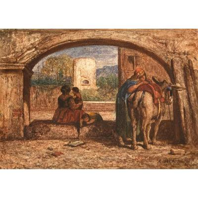 """Herst Auguste (1825-1895) """"characters And Donkey"""" Watercolor, Signed"""