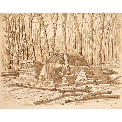 """FRANCAIS Louis (1814-1897) """"Sous-bois et personnages"""" Dessin/Plume et lavis brun,signé,daté"""