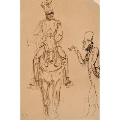 """DETAILLE Edouard (1848-1912) """"Cavalier et personnage"""" Dessin/Crayon noir,plume,lavis,monogrammé"""