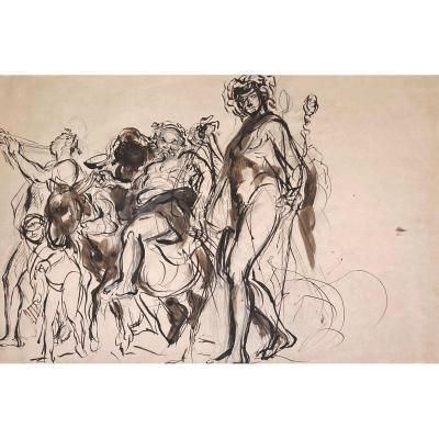 """DEHODENCQ Alfred (1822-1882) """"Bacchus"""" Paire de dessins/Plume et lavis brun"""