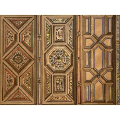 """CHAPERON Philippe (1823-1906) """"Projet de plafond à caissons"""" Gouache"""