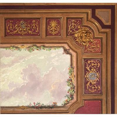 """CHAPERON Philippe (1823-1906) """"Projet de plafond avec ciel"""" Gouache, signé et daté"""