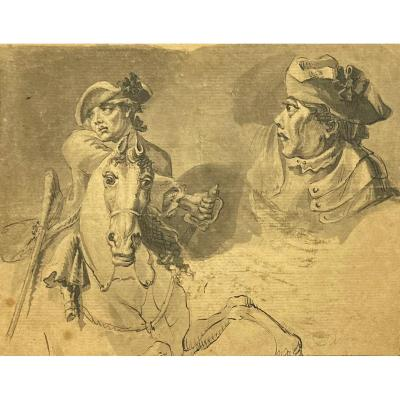 "Langendijk Dirk (1748-1805) ""cavalier"" Drawing/pen And Gray Wash, Signed, Provenance"
