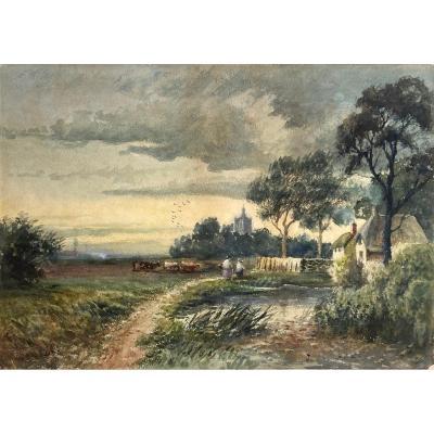 "COX David (1783-1859) ""Paysage animé"" Aquarelle, signé"