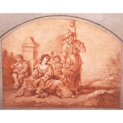 "French School Late 17th ""the Peasants"" Drawing In Red Chalk Wash And Heightened With White"