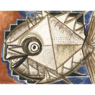 "WAROQUIER Henry de, (1881-1970) ""Un poisson"" Dessin, aquarelle, signé"