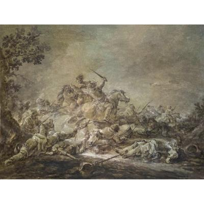 """CASANOVA Francesco (1727-1802) """"Choc de cavalerie"""" Dessin/Lavis gris et réhauts de blanc"""