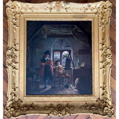 """VAN HAANEN Georg Gillis (1807-1876),Ec. Hollandaise """"Visite chez le peintre"""" Huile/toile, signé"""