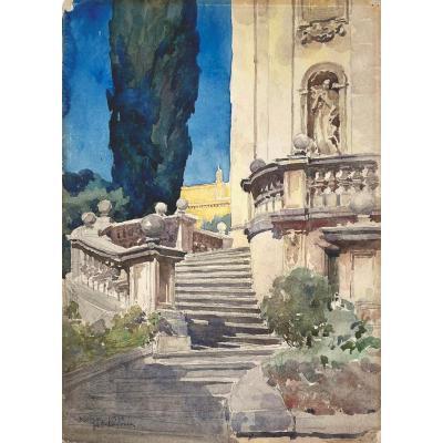 """DEBAT-PONSAN Jacques (1882-1942) """"Un palais à Rome"""" Aquarelle, signé, situé et daté"""