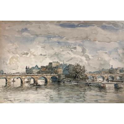 """FRANK BOGGS (1855-1926) """"Vue de Paris"""" Dessin/Crayon noir et aquarelle, signé et situé"""