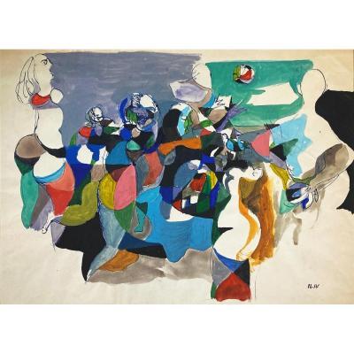 """ILIU Joseph (1914-1999) """"Composition avec personnages"""" Dessin/Encre et gouache, signé du cachet"""