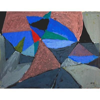 """ILIU Joseph (1914-1999) """"Composition abstraite No1"""" Dessin/Gouache, signé du cachet signature"""