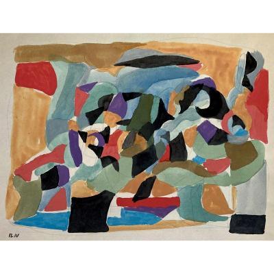 """ILIU Joseph (1914-1999) """"Composition abstraite No3"""" Dessin/Gouache, signé du cachet signature"""