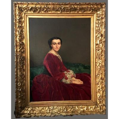 """PICHON Auguste (1805-1900) """"Portrait de Mathilde de SAULCY,née de BILLING""""HST,signé, Beau Cadre"""