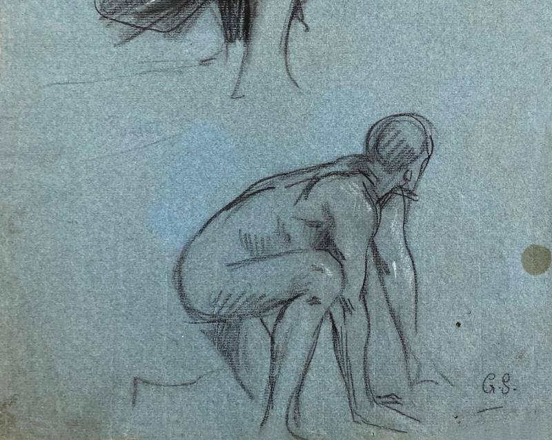 """SURAND Gustave (1860-1937) """"Homme agenouillé"""" Dessin/Crayon noir,craie blanche,Signé/monogramme-photo-3"""