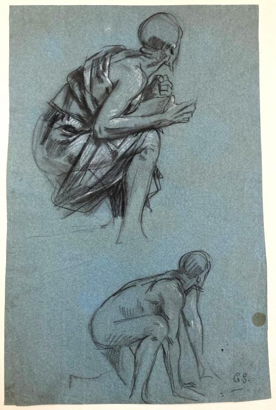 """SURAND Gustave (1860-1937) """"Homme agenouillé"""" Dessin/Crayon noir,craie blanche,Signé/monogramme-photo-4"""