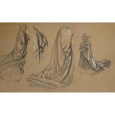 "ZIER François Edouard (1856-1924) ""Etude de draperie"" Dessin/Crayon noir,gouache blanche, signé"