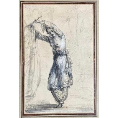 """HILAIRE Jean-Baptiste (1753) """"Jeune pensionnaire d'un harem"""" Dessin/Pierre noire, lavis gris"""