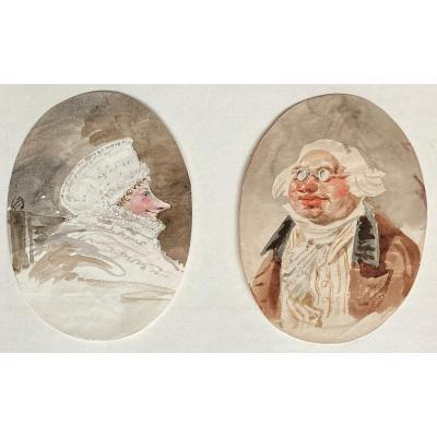 """ISABEY Jean-Baptiste (1767-1855) Attr.à,""""Caricatures: Portraits homme & femme"""" Dessin/Aquarelle"""
