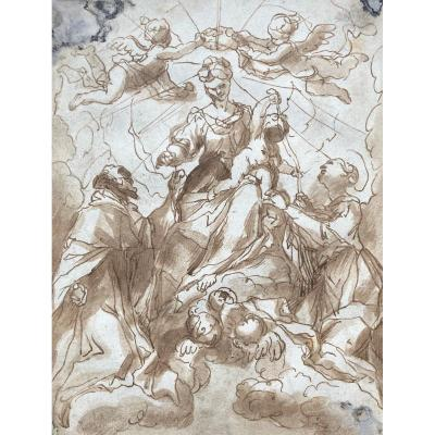 "Piola Paolo Gerolamo (1666-1724) ""the Virgin And Child Crowned By Angels"" Drawing/pen, Wash"