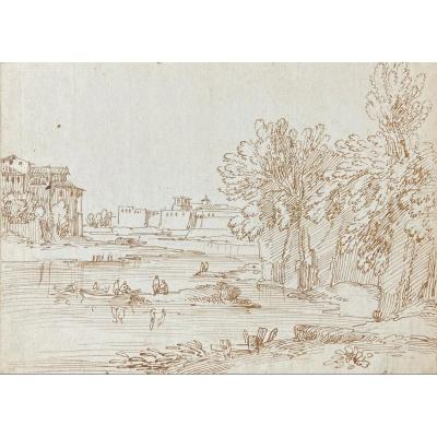 "BUSIRI Giovanni Batista (1698-1757) Ecole italienne ""Paysage animé à la rivière"" Dessin/Plume"