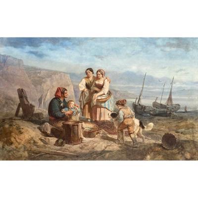 """CAMOIN Victor (1824-1856) """"Personnages et bord de mer"""" Grande aquarelle, signé et daté"""
