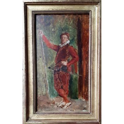 """MEISSONIER Ernest (1815-1891) """"Un hallebardier"""" Huile/panneau d'acajou,Monogramme, Cachet/Vente"""